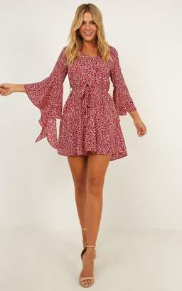 Showpo No Stylist Dress in wine print - 6 (XS) Sale Dresses