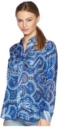 Lauren Ralph Lauren Petite Paisley Silk-Blend Shirt Women's Clothing