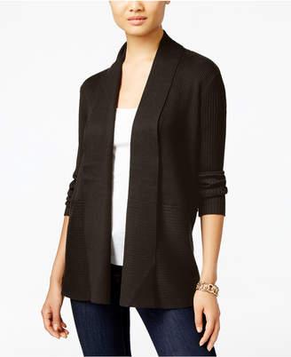 JM Collection Petite Open-Front Ribbed Cardigan