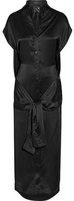 R 13 Tie-Front Silk-Satin Midi Dress
