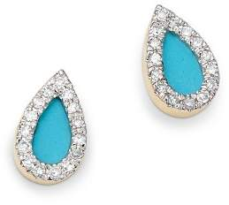 Adina 14K Yellow Gold Turquoise & Diamond Teardrop Stud Earrings