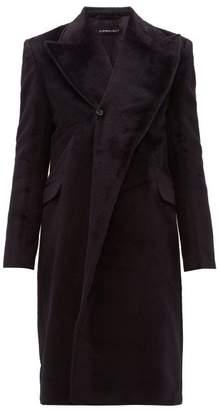 Double Breasted Alpaca Blend Overcoat - Mens - Dark Navy