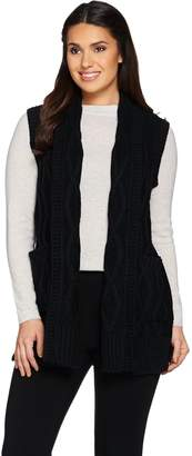 Lisa Rinna Collection Cabled Sweater Vest with Pockets