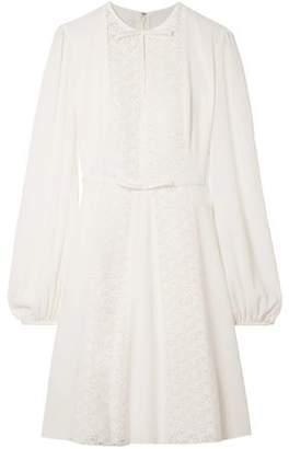 Giambattista Valli Lace-Paneled Silk-Crepe Dress