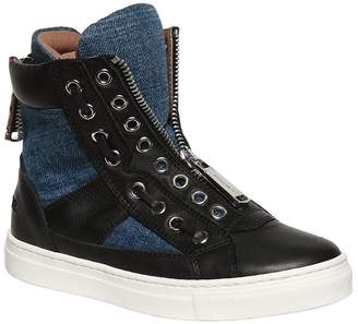 DSQUARED2 Nappa Leather & Denim High Top Sneakers