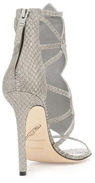 Brian Atwood Luanna Mixed Media Sandal, Light Gray