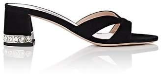 Miu Miu Women's Crystal-Inset Suede Sandals