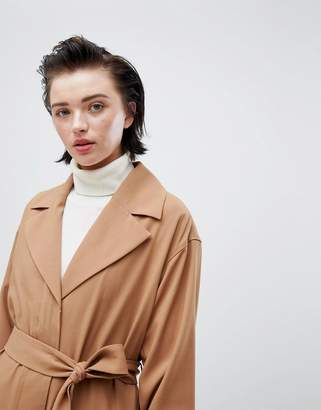 Weekday oversize belted trench coat in camel
