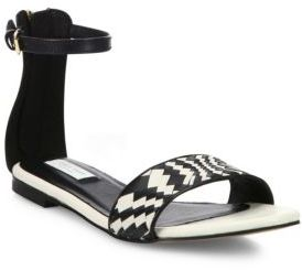 Cole Haan Genevieve Weave Leather Ankle-Strap Sandals $170 thestylecure.com