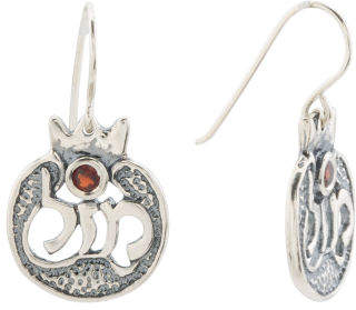 Made In Israel Sterling Silver Garnet Earrings