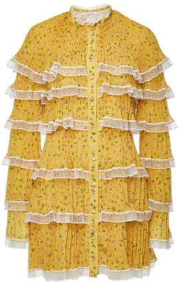 Philosophy di Lorenzo Serafini Printed Mini Dress with Lace