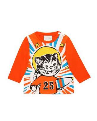 Gucci Long-Sleeve Space Cat T-Shirt, Size 9-36 Months $145 thestylecure.com