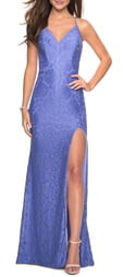 La Femme Strappy Back Lace Evening Dress