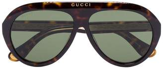 Gucci brown Havana tortoiseshell aviator sunglasses