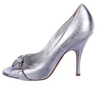 Dolce & Gabbana Metallic Leather Peep-Toe Pumps