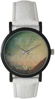 OLIVIA PRATT Olivia Pratt Womens Black The Best Is Yet To Come Multi-Color Dial White Leather Strap Watch 15117