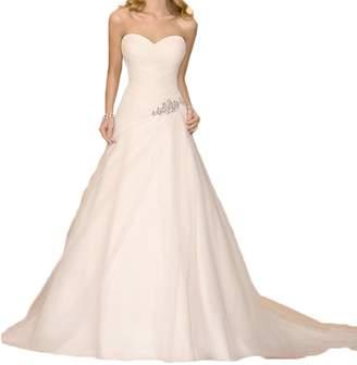 Alexzendra Simple Beach Wedding Dress For Bride Beaded A Line Bride Dress Plus
