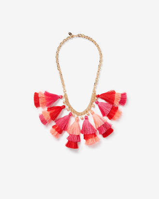 Express Layered Ombre Tassel Statement Necklace