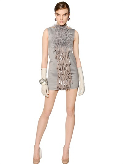 Dsquared2 - Embellished Cotton Dress With Feathers