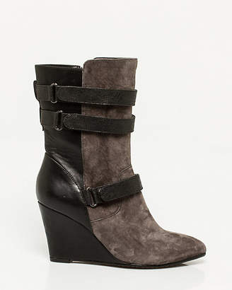 Le Château Suede & Leather-Like Wedge Boot