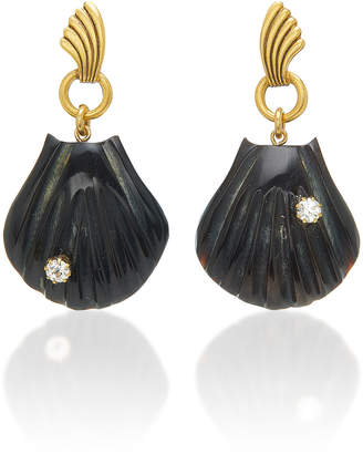 Swarovski Brinker & Eliza City Girl 24K Gold-Plated, Horn And Crystal Earrings