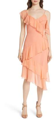 Alice + Olivia Olympia Asymmetrical Silk Chiffon Dress