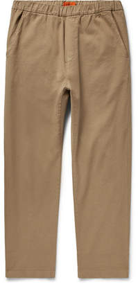 Barena Cropped Tapered Stretch-Cotton Twill Drawstring Trousers