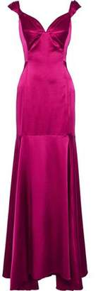 Milly Hannah Pleated Stretch-Silk Satin Gown