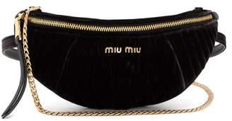 Miu Miu Contrast Panel Velvet Belt Bag - Womens - Black