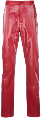 Anton Belinskiy slim-fit faux-leather trousers