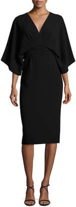 Theia Kimono Stretch-Crepe Dress, Black $550 thestylecure.com