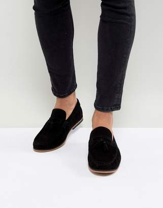 Asos DESIGN tassel loafers in black suede with natural sole
