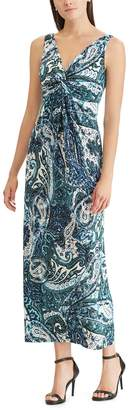 Chaps Petite Paisley Twist-Front Maxi Dress