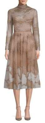 Valentino Embellished Silk-Blend A-line Dress