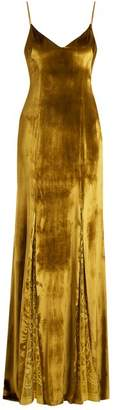 GALVAN V-neck lace-panelled velvet gown