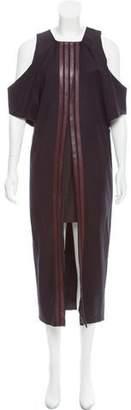 Brandon Sun Leather-Trimmed Maxi Dress