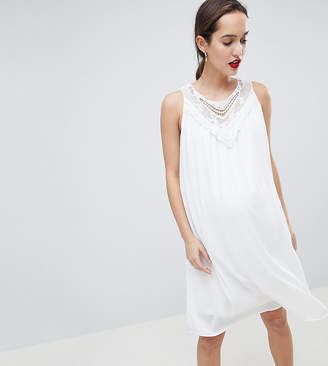 Mama Licious Mama.Licious Mamalicious sleeveless lace insert woven mini dress in white