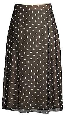 Theory Women's Polka Dot Silk A-Line Midi Skirt