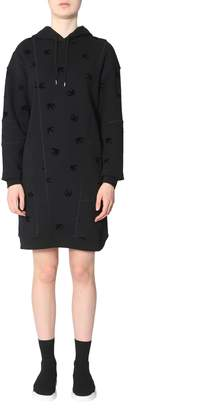 McQ Cotton Fleece Moto Deco Swallow Dress