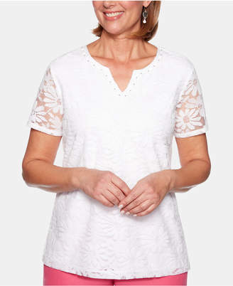 Alfred Dunner Petite Classic Lace-Front Split-Neck Top