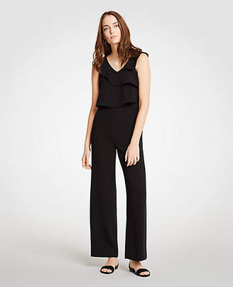 Ann Taylor Ruffle V-Neck Jumpsuit