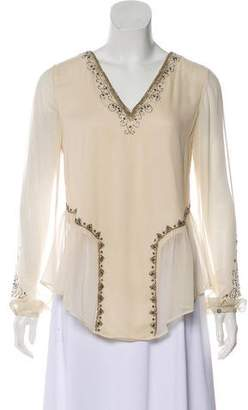 Haute Hippie Beaded Silk Top