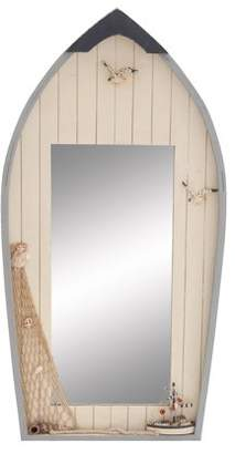 Benzara Seaside Nautical Row Boat Mirror Decor With Fishing Net