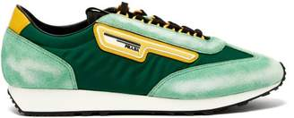 Prada Milano Suede And Nylon Low Top Trainers - Mens - Green
