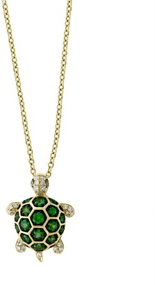 Effy 14K Yellow Gold, Tsavorite & Diamond Turtle Pendant Necklace