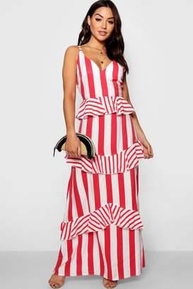 523a4aaf3a4 Free Returns at boohoo · boohoo Lara Ruffle Detail Striped Maxi Dress