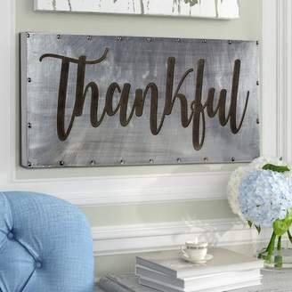 Gracie Oaks 'Thankful' Hanging Farmhouse Style Wall Art on Metal