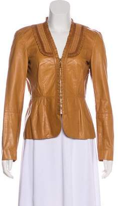 Gucci Ruffle-Accented Leather Jacket