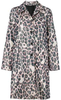 Calvin Klein single-breasted leopard coat
