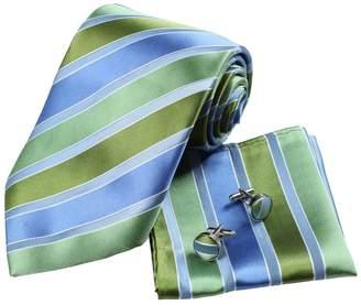 IDEA H5016 Green Stripes Best Gift Club Presents Silk Neckties Cufflinks Hanky Set 3PT By Y&G